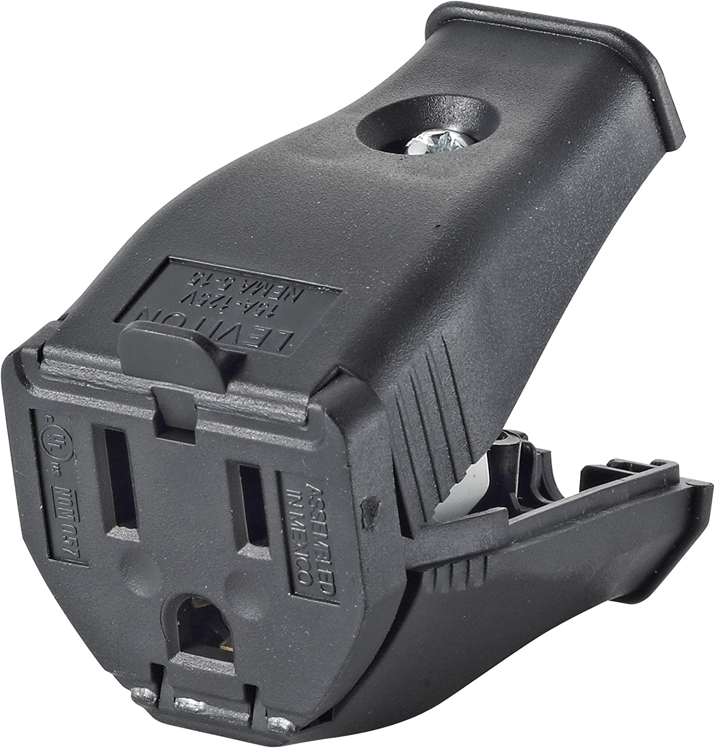 Leviton 3W102-E Not Available Clamptite Hinged Straight Blade Cord Connector, 125 V, 15 A, 2 Pole, 3 Wire, Thermoplastic