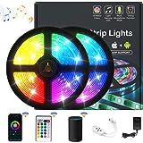Tira LED de 10 M RGB 5050, Luces led con Bluetooth Control Remoto, Impermeable IPX5 para extrior/interior, Trabaja con Sistem