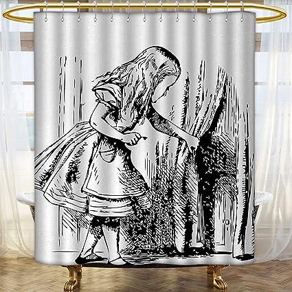 Alice In Wonderland Shower Curtains Waterproof Long Black And White Looking Through Hidden Door