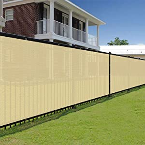 E&K Sunrise 6' x 50' Beige Fence Privacy Screen, Commercial Outdoor Backyard Shade Windscreen Mesh Fabric 3 Years Warranty (Customized Set of 1