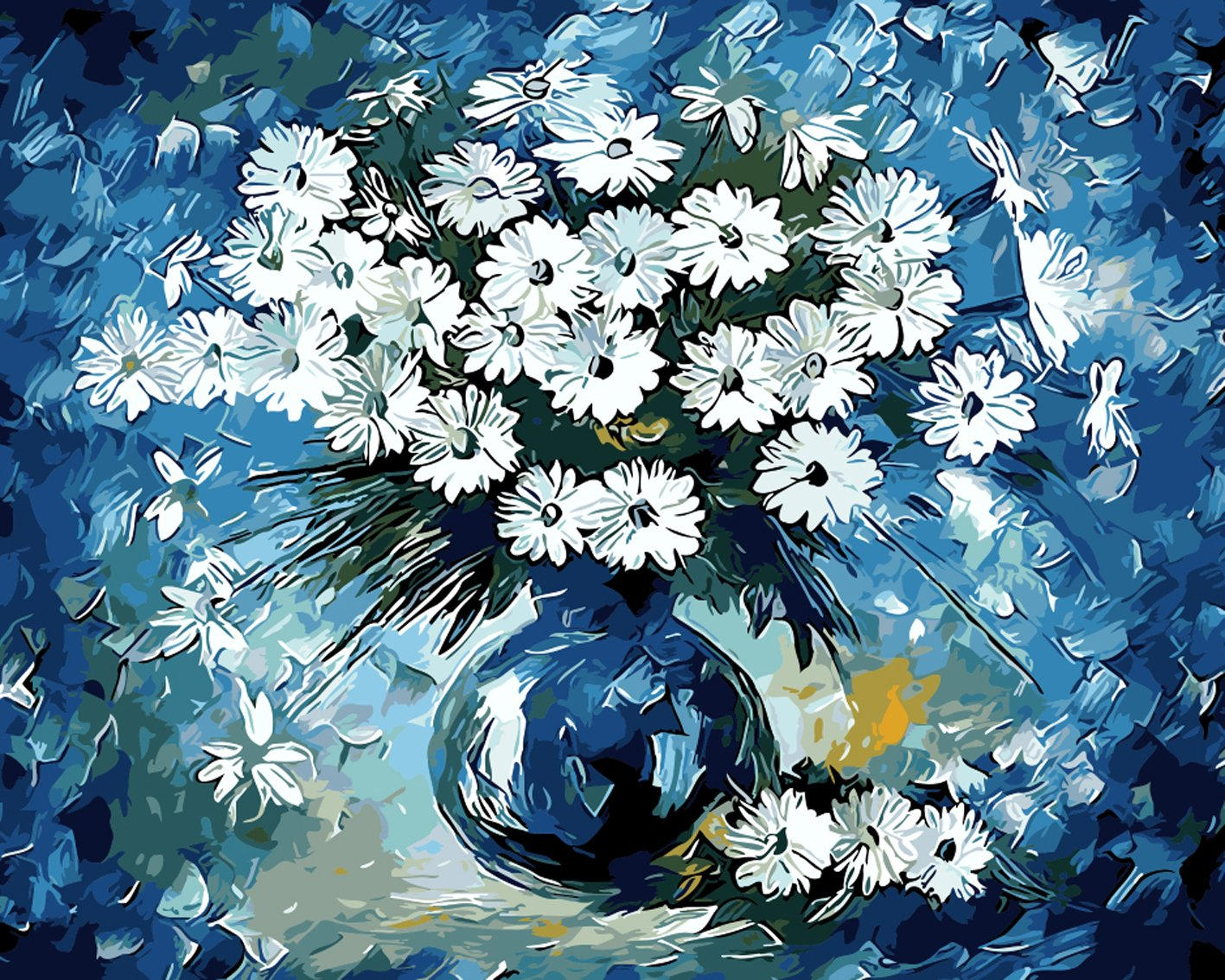 DIY Oil Painting on Canvas PNB for Adults Beginner Flower in the Bottle 16x20 Inch Without Frame SHUAXIN Paint by Numbers for Adults