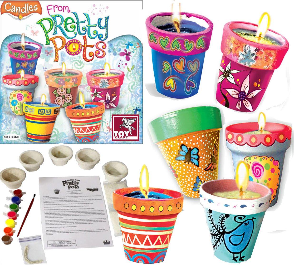 Ceramic Plant Pot Painting Candle Making Kit  Unique Girls Hobby Craft Gift Set Birthday Chrismtas Present Toykraft 39469