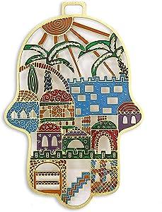 Laser Cut Hand Painted Hamsa in Jerusalem Design / Multicolor