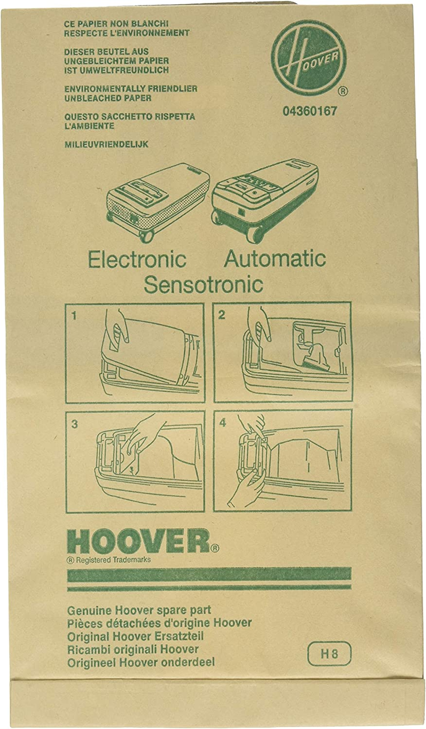 Hoover Paper Bag, Type L Canister Elec 1000 (Pack of 3)