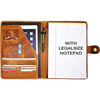 Leather Travel Portfolio | Professional Organizer Men & Women | Tablet Holder Leather Padfolio with Sleeves for documents and Ipad by Aaron Leather (Cinnamon)