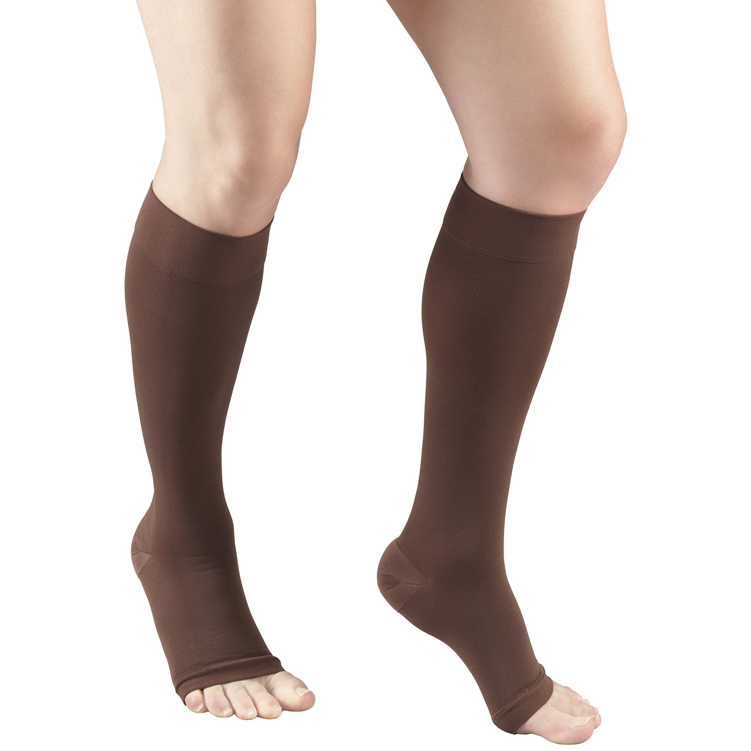 Truform 20-30 mmHg Compression Stocking for Men and Women, Knee High Length, Open Toe, Brown, Small