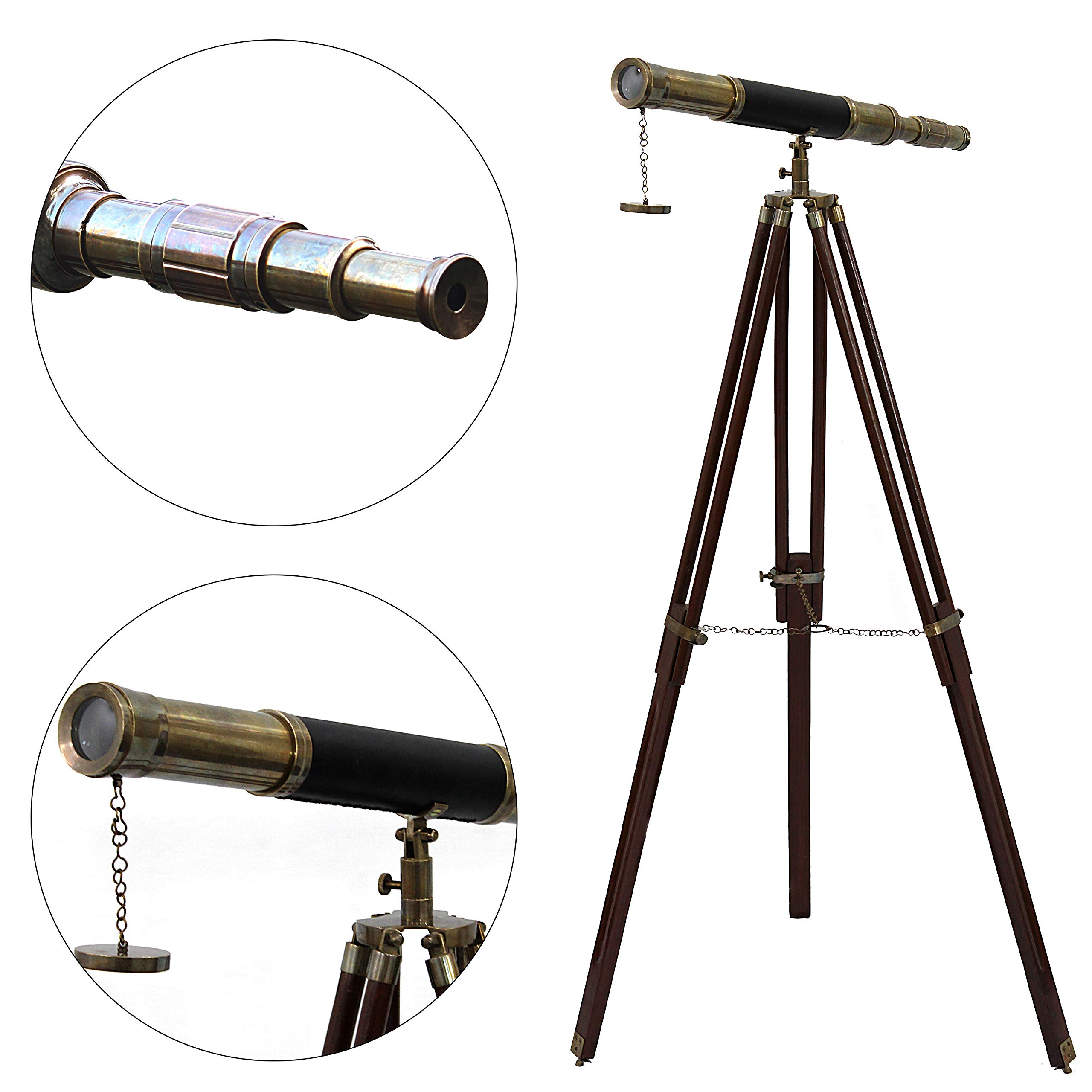 Sailor Boat Antique Telescope Black Leather Wooden Stand Marine Royal Telescopes by Collectibles Buy