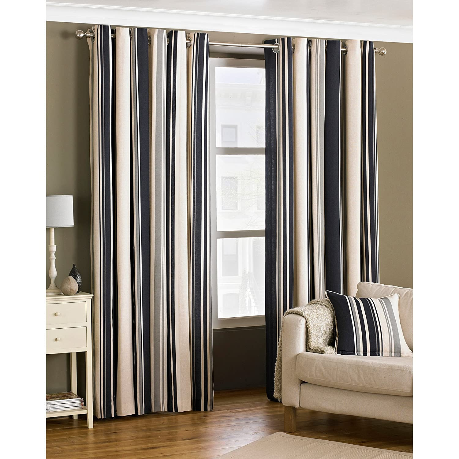 Broadway Stripe Woven Lined Eyelet Curtains Coffee 46 X 54 Inch Amazoncouk Kitchen Home