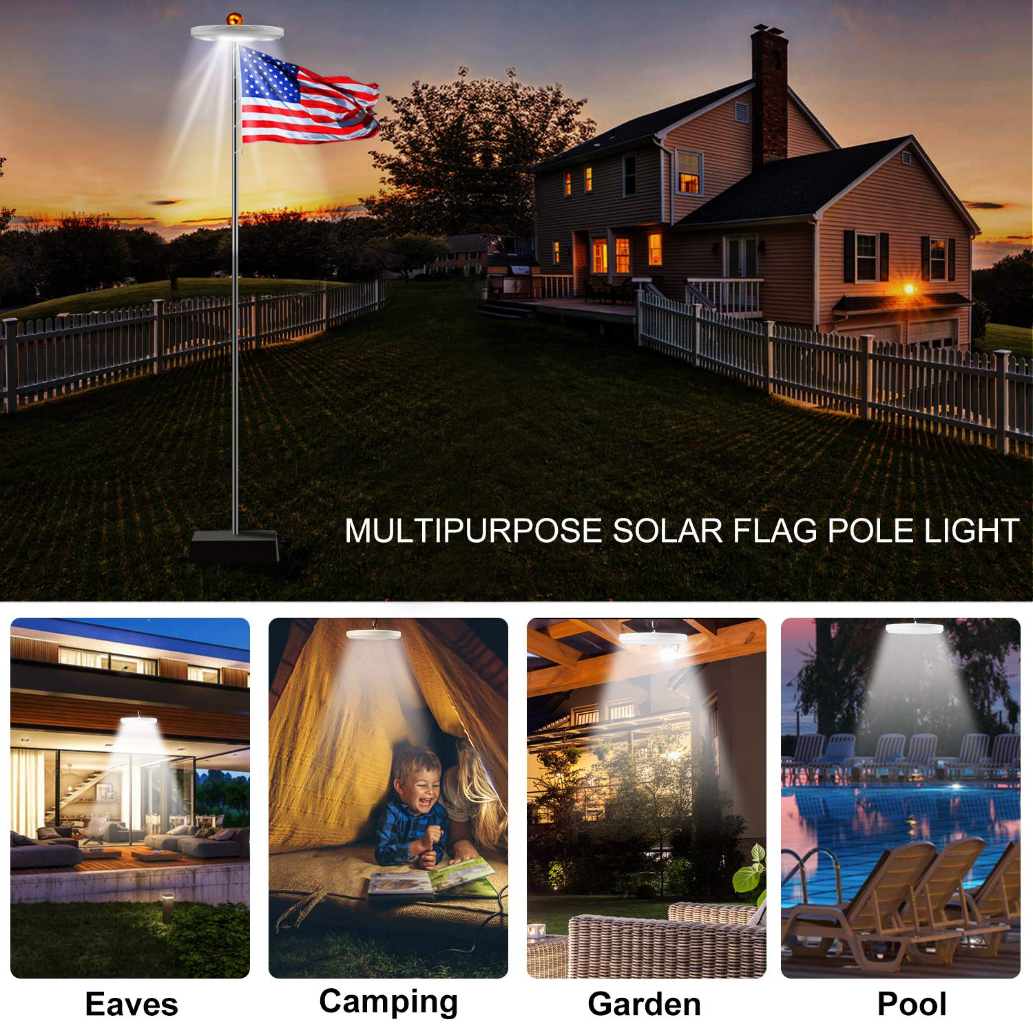 Solar Flag Pole Light 128 LED Light, Super Bright Led Solar Powered Lights on Most 15 to 25Ft Flagpole 100% Flag Coverage, 2 Modes 2500MAH Downlight up flag, IP67 Waterproof Auto On/Off Night Lighting