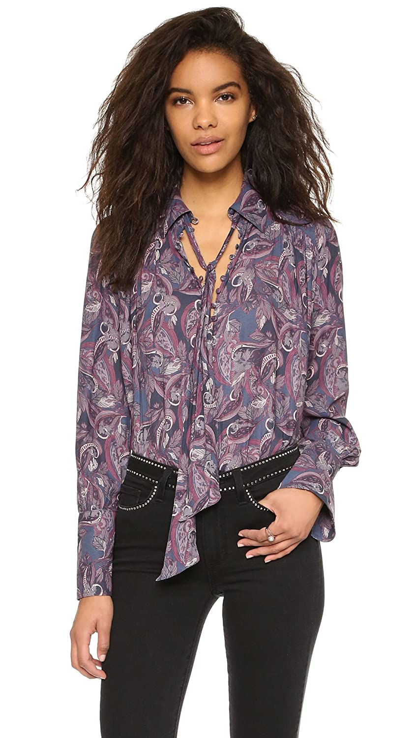 Free People Women's Modern Muse Tie Front Top, Purple Combo