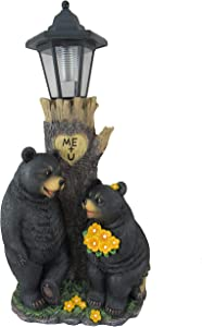 DWK - Bear's First Date - Adorable Black Bear Couple Flirting by Tree Trunk Outdoor Solar Powered Lantern Romantic Valentine's Day Home & Garden Decor Lighting Accent, 19-inch