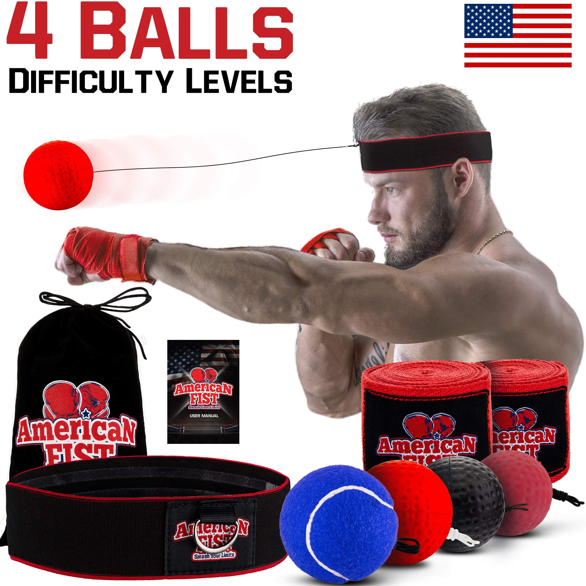 Boxing Reflex Ball Set, 4 Difficulty Level Training Balls On String, Punching Fight React Head Ball with Headband, Speed Hand Eye Reaction and Coordination Boxing Equipment For Kids And Adults by American Fist