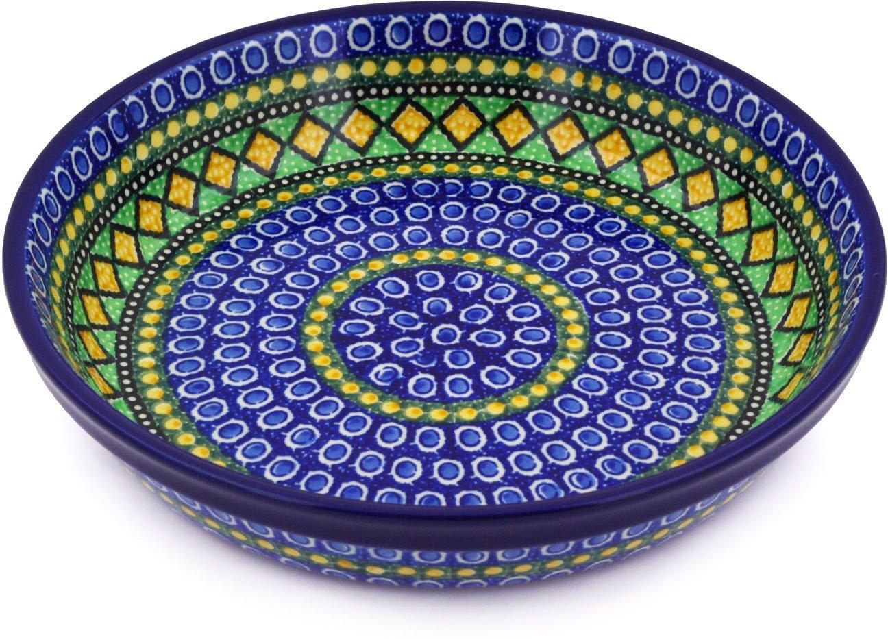 Polish Pottery Pie Dish 10-inch Stained Glass Window UNIKAT
