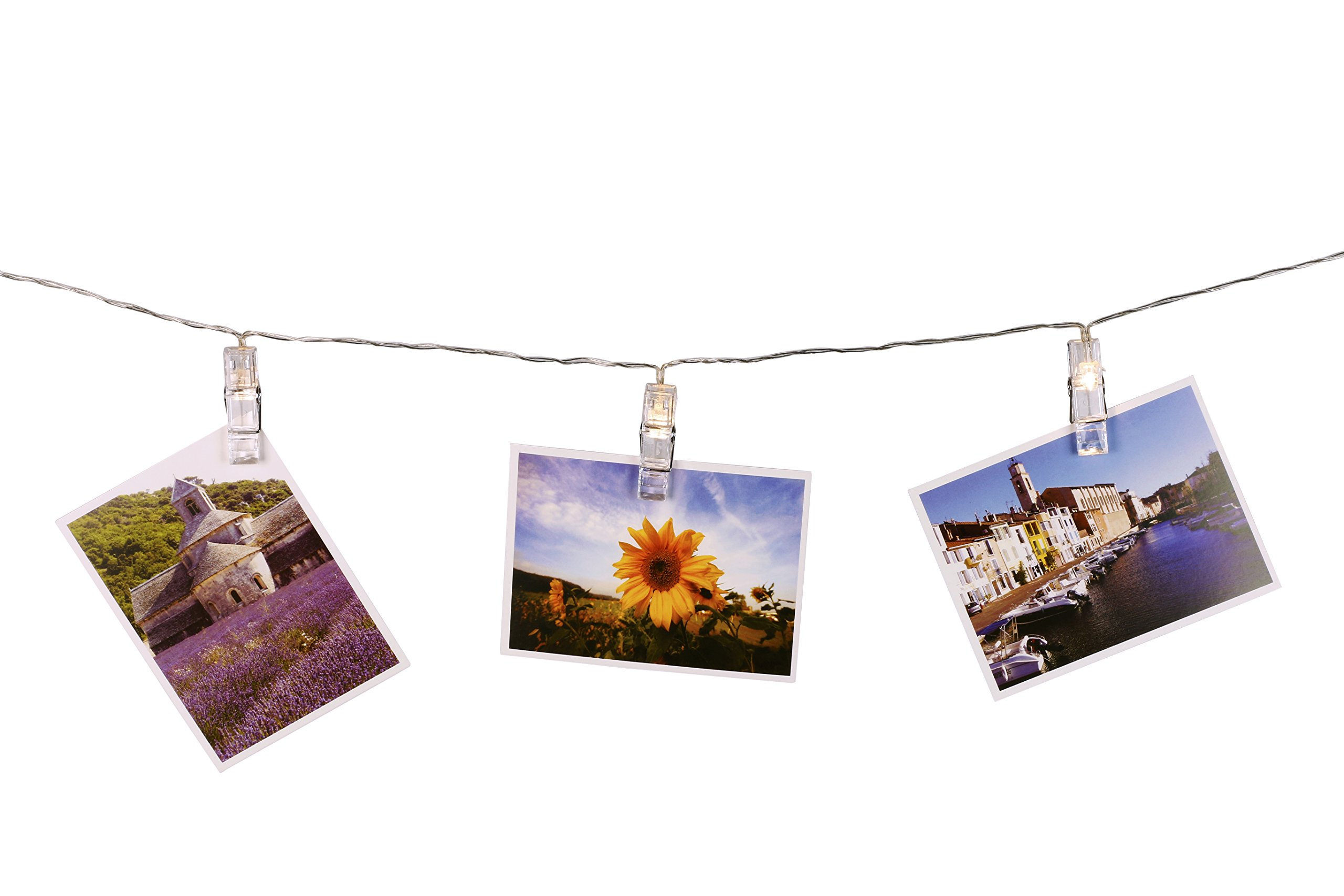 SMAZ LIFE LED String Lights with Photo Clips for Outdoor Patio or Indoor Bedroom 15 Feet T2C Battery Operated with Automatically Timer Warm Light