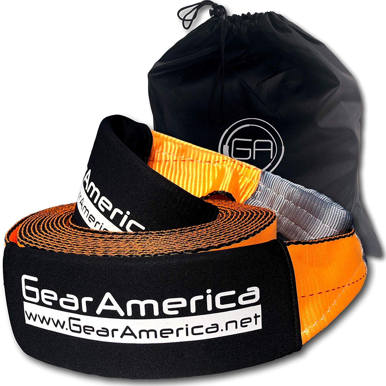 GearAmerica Recovery Tow Strap 4'' x 30' | Ultra Heavy Duty 40,000 lbs (20 Tons) Strength | Triple Reinforced Loops + Protective Sleeves | Emergency Truck Towing | Free Storage Bag + Strap by GearAmerica