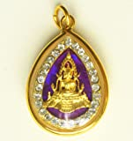 Amulets Necklace Jewish Phra Buddha Chinnaraj Thai Famous Buddhist Pendant Lucky Rich Happy Love, Thai Pendant Necklace,Thai Amulets Hanger,Thai Buddhist Pendant, Good Luck and Protection (Purple)