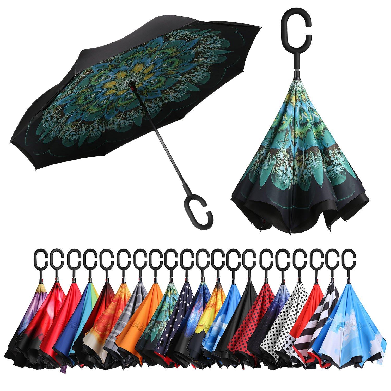 Bagail 複層 逆に開く傘 逆折り式傘 防風 紫外線防御 ビッグ 長傘 C型手元 車用 雨の日用 アウトドア用 孔雀 B076BN3JZM 孔雀 孔雀