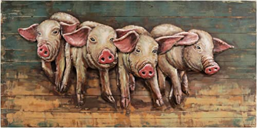 Empire Art Direct 4 Little Pigs Iron Wall Art on Slatted Solid Wood 3D Metallic Hand Painted Sculpture,Ready to Hang,Living Room