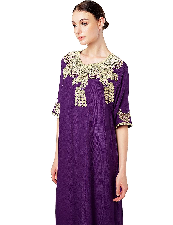 muslima abaya robe islamique Caftan brod/é jalabiya rayonne dubai maxi dress longue vetement femme musulmane