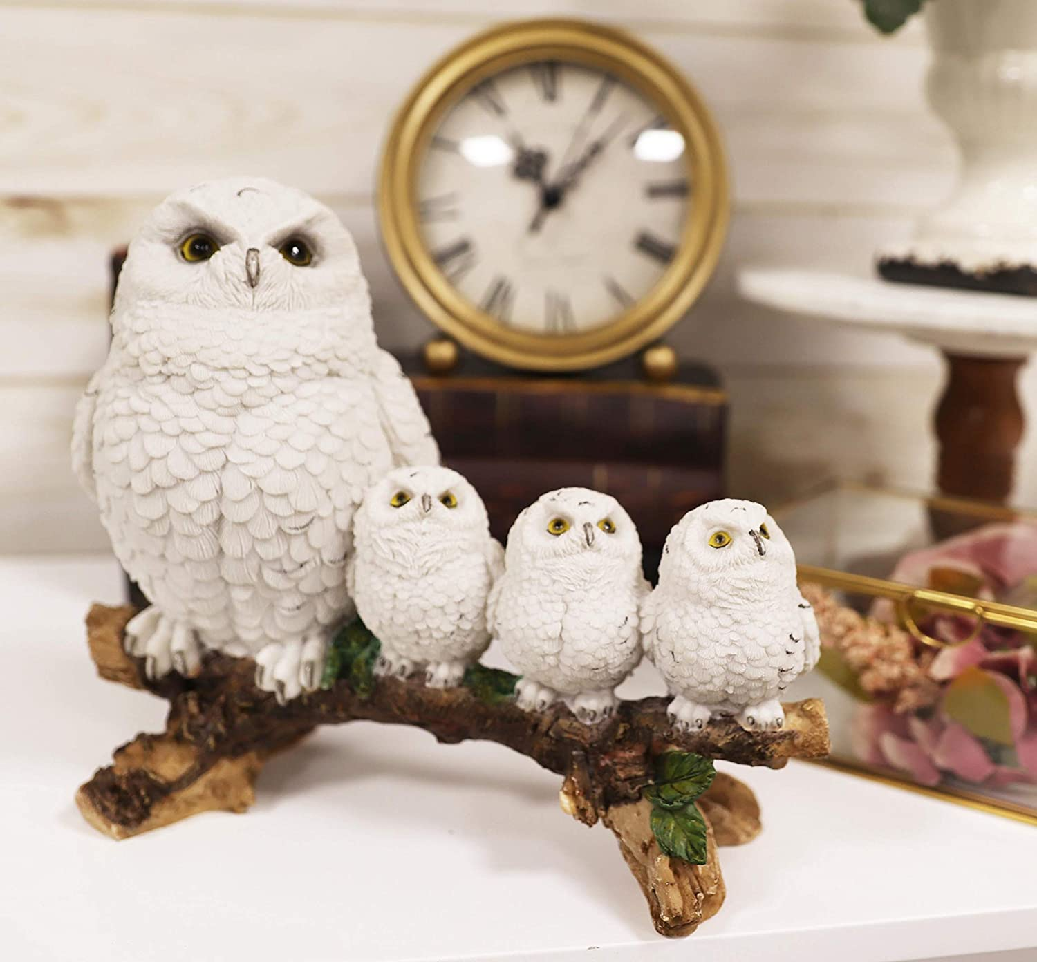 Ebros Snowy Tundra White Owl Perching On Tree Branch with 3 Baby Owlets Family Statue 10.25