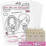 WEDDNG Hochzeitsmalbuch für Kinder DINA5 | Mit 28 liebevoll gestalteten Ausmal- und Rätselseiten | Mit Buntstiften | Malbuch Hochzeit (6 Malbücher + 6 Buntstifte Set) | Gastgeschenke Hochzeit