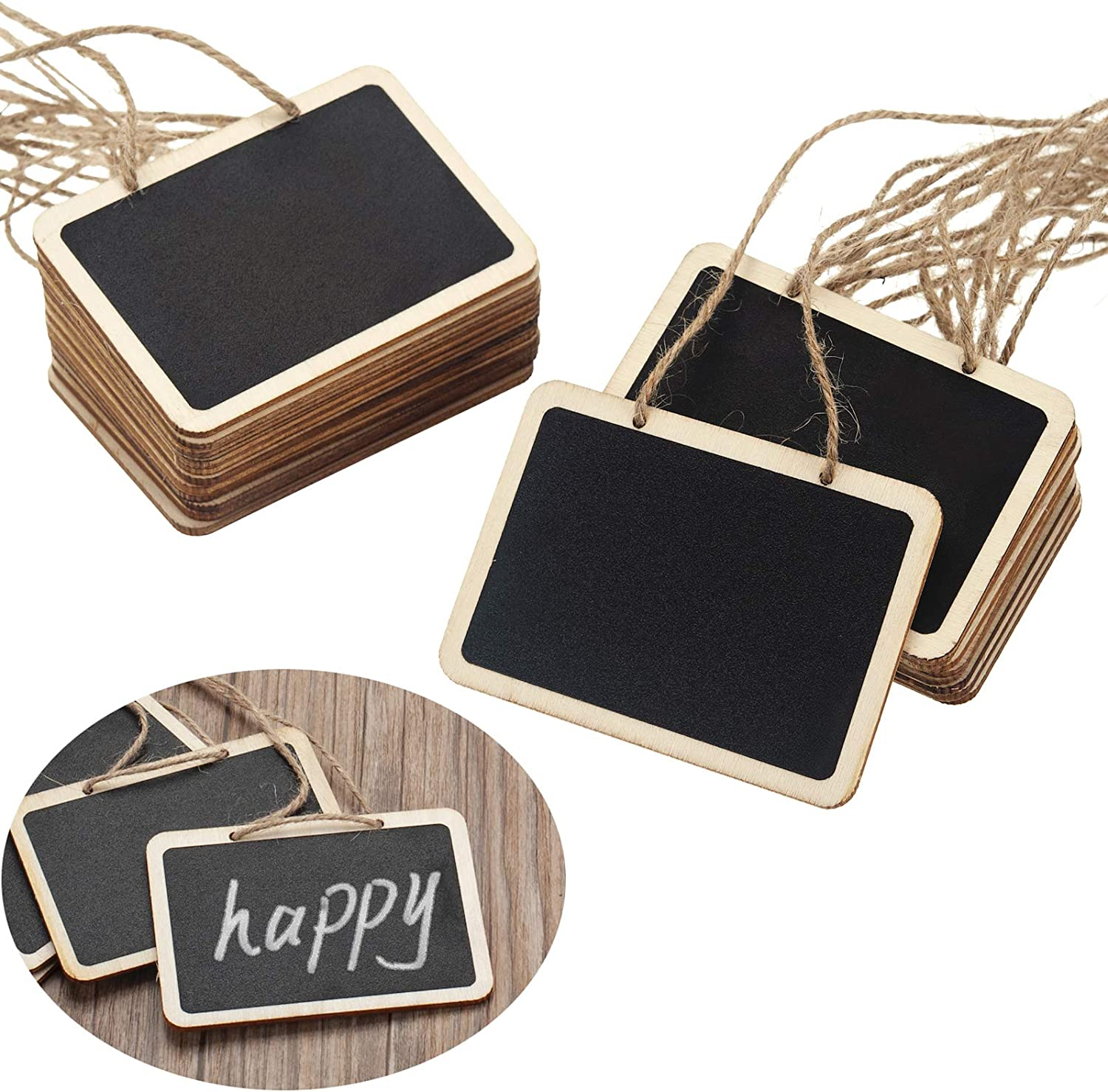 20 Pack Mini Chalkboard Tags for Basket, Erasable Chalkboards with Hanging String Rectangle Chalkboards for Message Tags, Food Tags, Wedding Hanging Labels