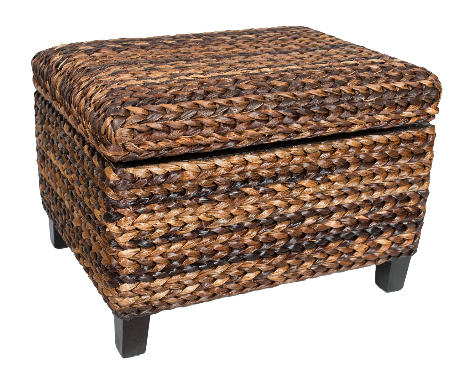birdrock home woven seagrass storage ottoman with safety. Black Bedroom Furniture Sets. Home Design Ideas