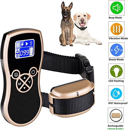 Newpets 450 Yards Remote Dog Training Collar 2018 Premium Version Rechargeable Waterproof Dog Training Shock Collar with Beep Vibration Shock Electric Collar Dogs 1 Dog Collar