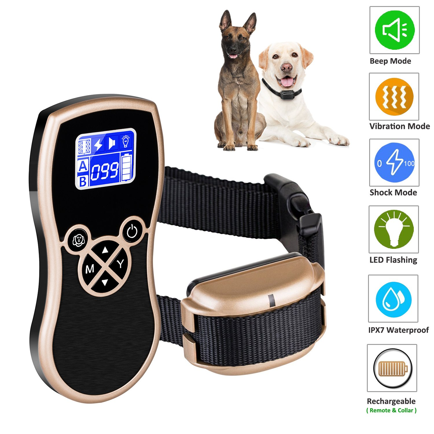 Newpets 450 Yards Remote Dog Training Collar (2018 Premium Version) Rechargeable Waterproof Dog Training Shock Collar with Beep Vibration Shock Electric Collar Dogs (1 Dog Collar)