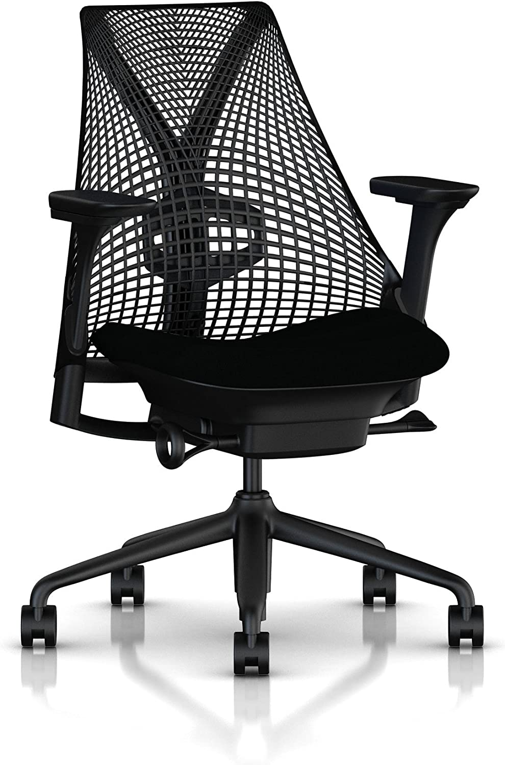 Herman Miller Sayl Ergonomic Office Chair with Tilt Limiter and Carpet Casters | Adjustable Seat Angle/Depth, Lumbar Support, and Arms | Black Frame with Black Rhythm Seat: Kitchen & Dining