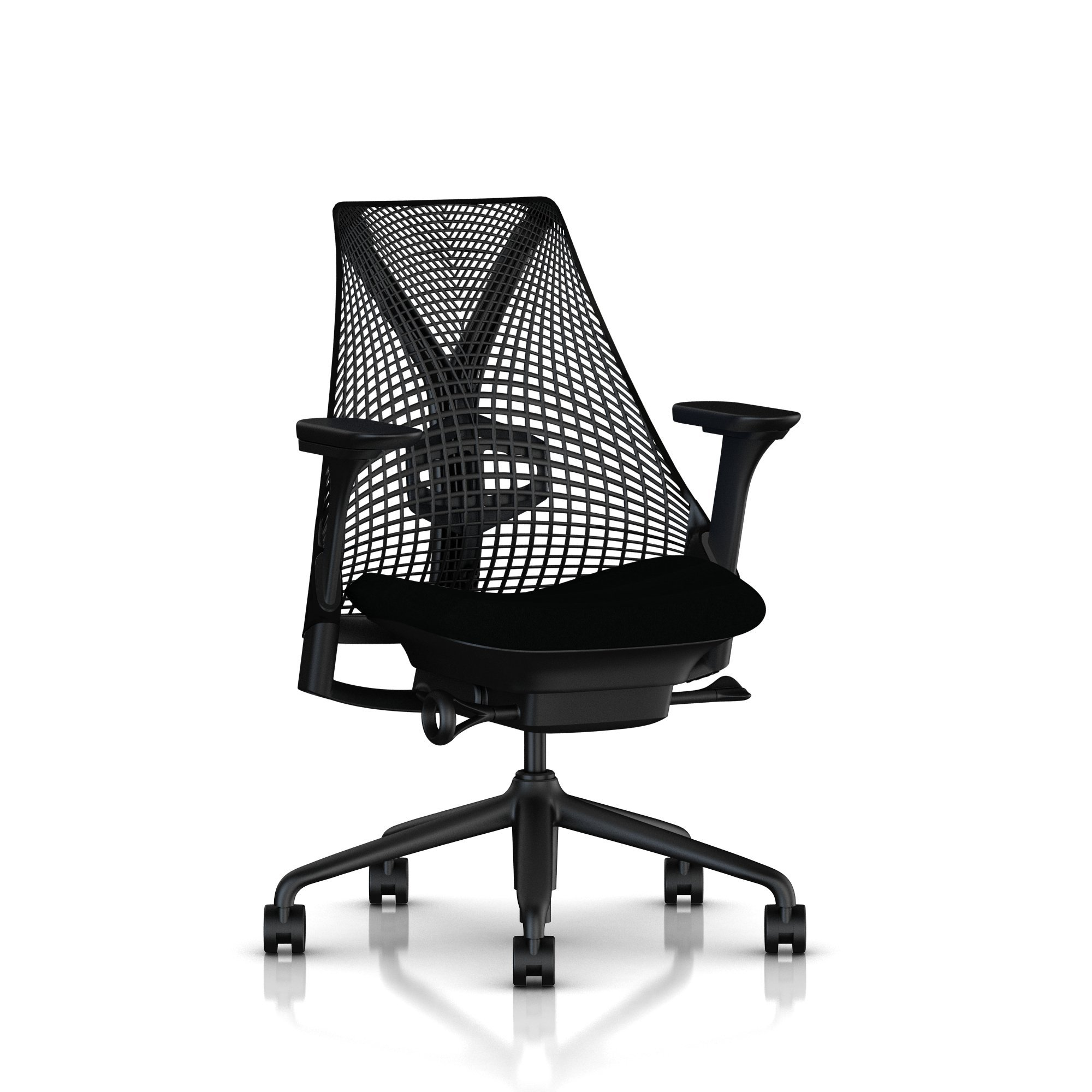 Herman Miller Sayl Ergonomic Office Chair with Tilt Limiter and Carpet Casters | Adjustable Seat Angle/Depth, Lumbar Support, and Arms | Black Frame with Licorice Crepe Seat