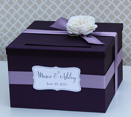 Wedding Card Holder.Amazon Com Wedding Card Box Money Holder Purple Plum And
