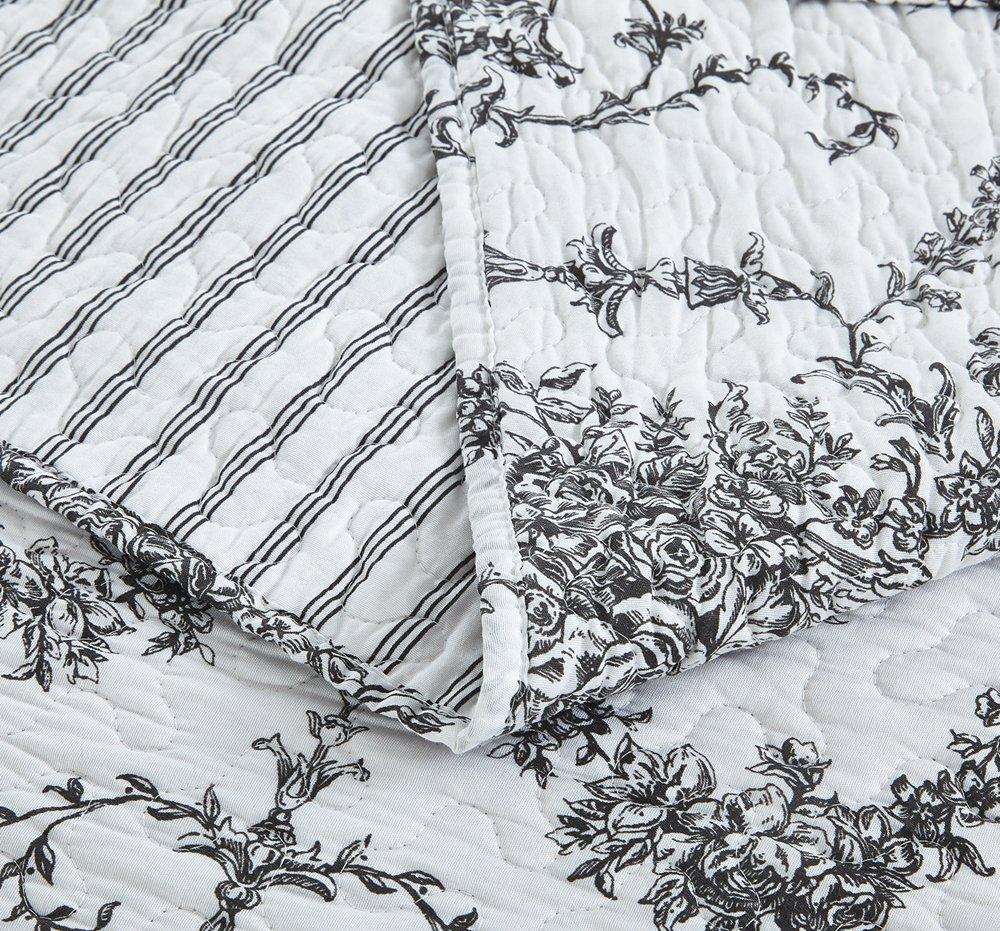 Cal King 3-Pieces DaDa Bedding Damask Victorian Candelabra Aimee-CK Elegant Jacquard Coverlet Bedspread Set Bright Vibrant Floral Black /& White