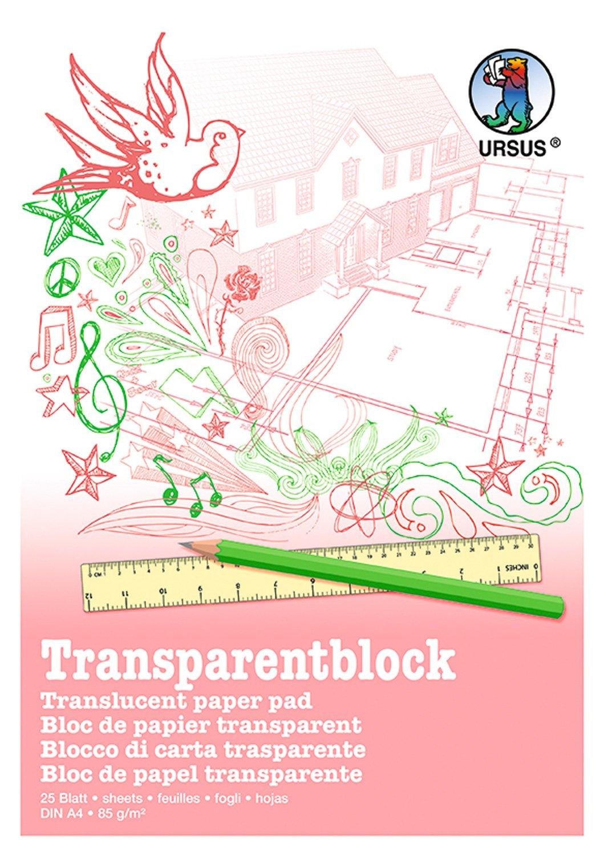Ursus 2704000 65 g//qm Transparentblock A3 wei/ß 25 Blatt