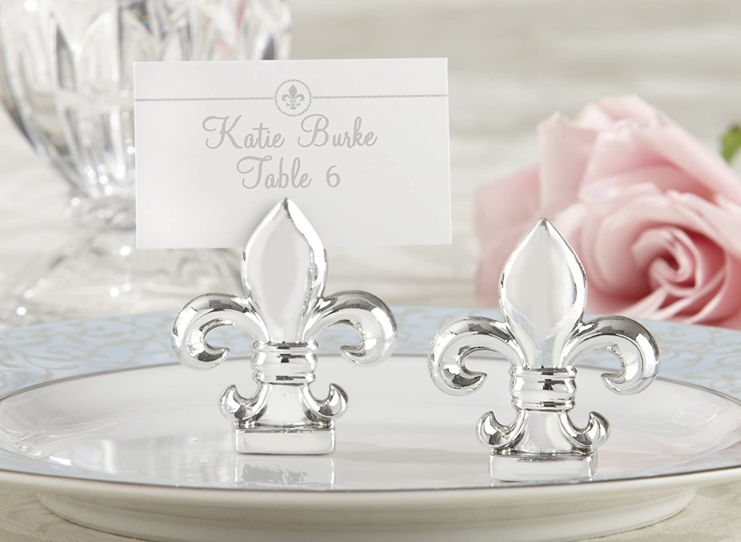 Amazon.com: Kate Aspen Set of 4 Silver Finish Place Card/Photo ...