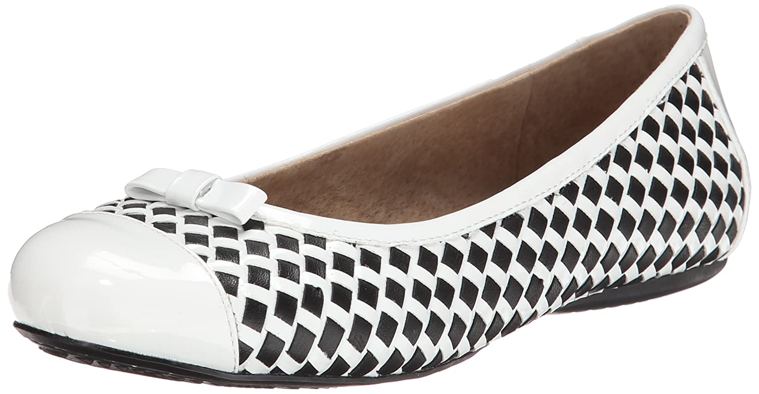 SoftWalk Women's Naperville Ballet Flat B00LMEI7YY 5 B(M) US|Black/White