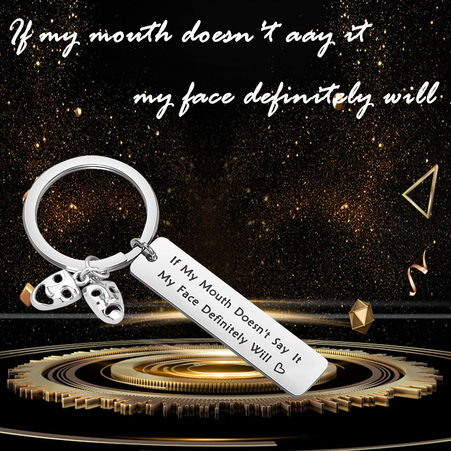 bobauna If My Mouth Doesnt Say it My Face Definitely Will Theatre mask Keychain Funny Gift for Actor Acting Teacher Student