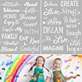 2 Pieces Plastic Stencils for Painting Decor, 8 x 11 Inches Inspirational Word Stencils Template for Drawing Painting Sprayin