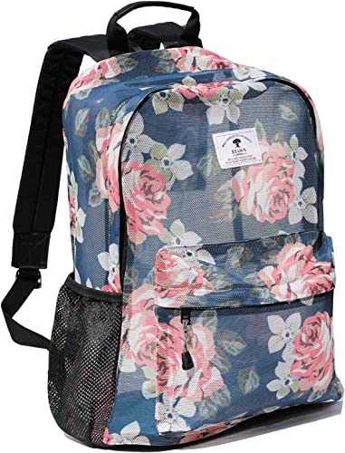 Original Print Mesh Backpack Semi-Transparent Sackpack See Through Beach Bag Daypack Multi-Purpose Women Men Unisex