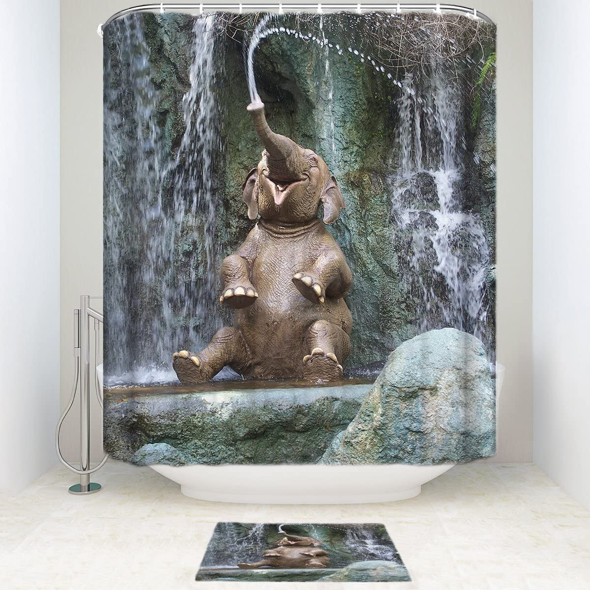 Amazon.com: SUN-Shine Funny Elephant Bathroom Shower Curtain Sets
