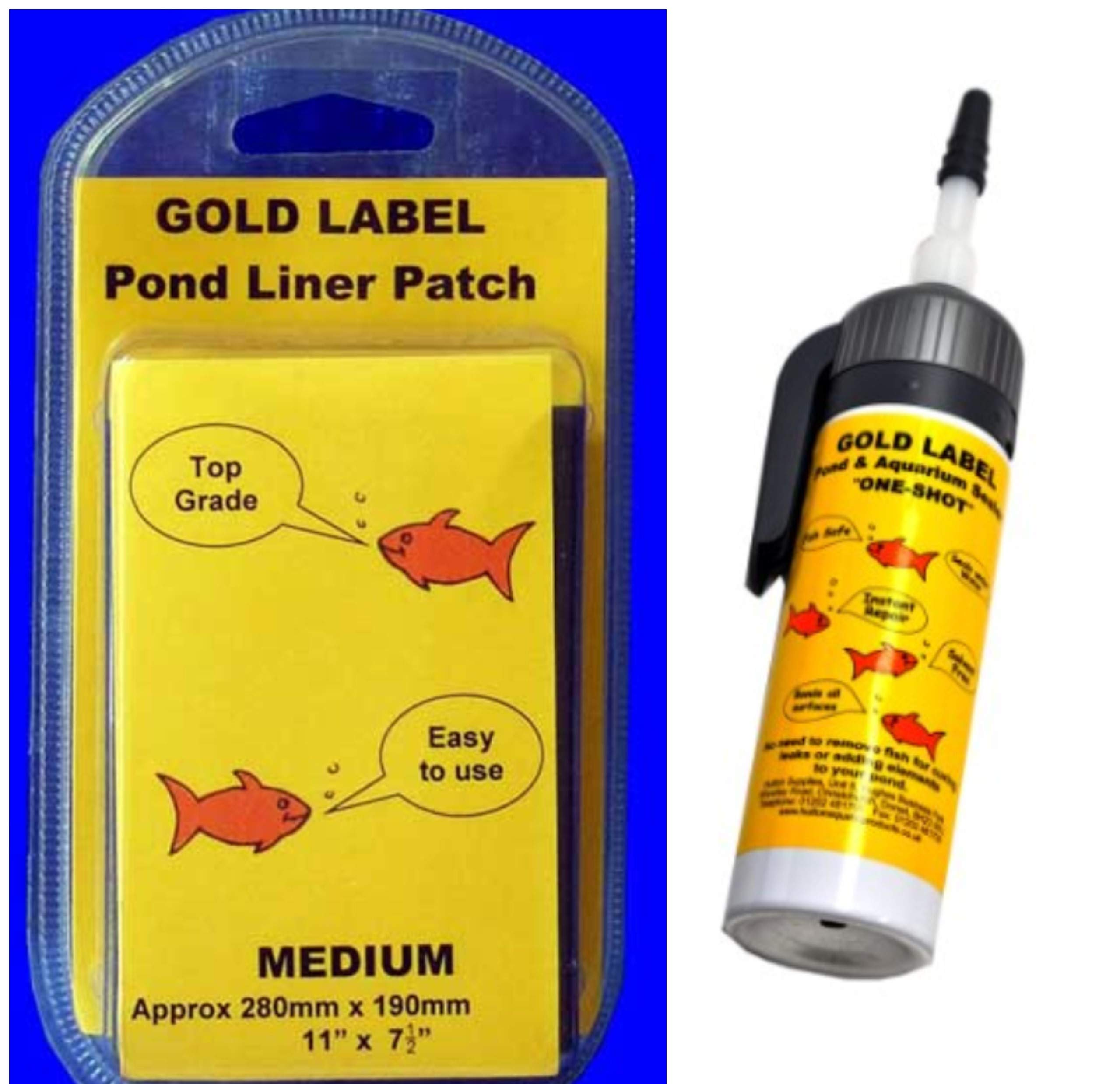 Koi Pond Water Garden Liner Leak Repair Kit, Includes One Shot Sealant and Pond Liner Patch