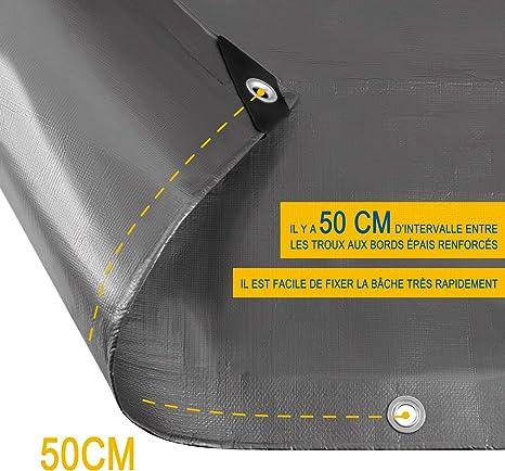 Laneetal Lona Funda Protectora Resistente al Agua y Anti-UV Cubierta de Madera Gris-Negro 3x6m 180g//m/² 0930119