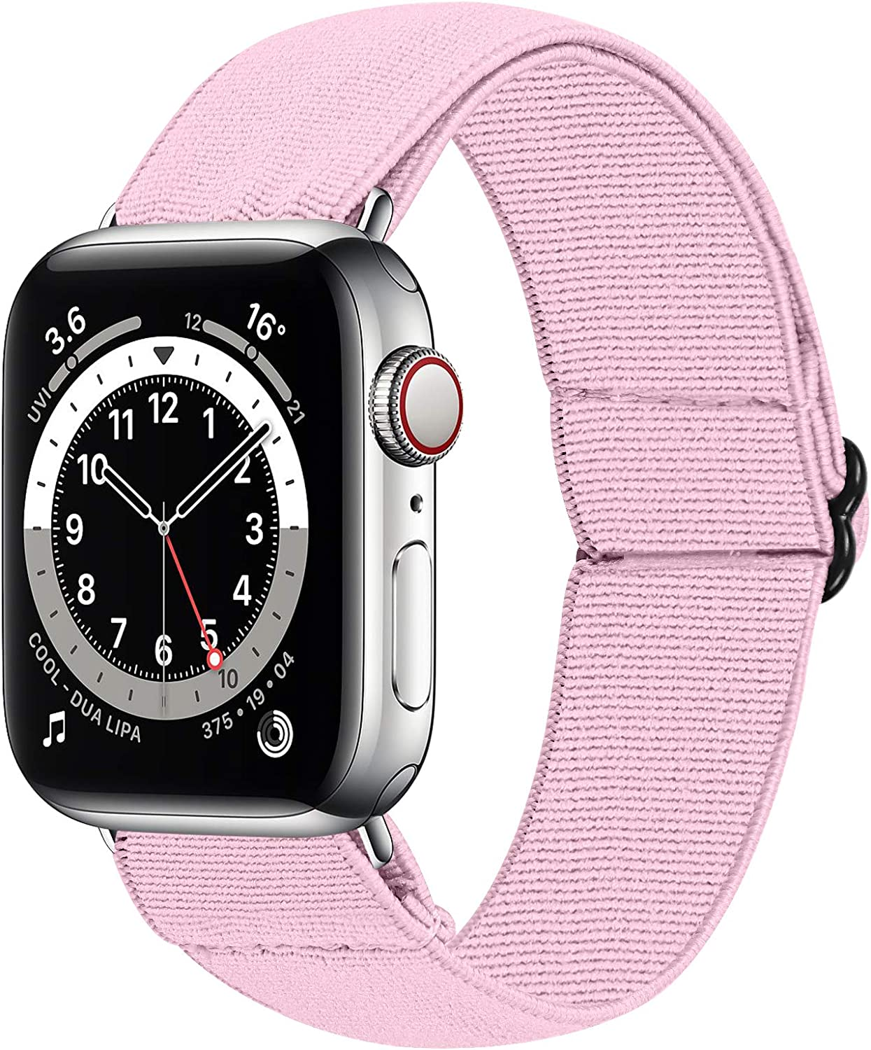 HAYUL Stretchy Nylon Bands Compatible with Apple Watch Bands 38mm 40mm 42mm 44mm, Adjustable Sport Elastics Women Men Wristband for iWatch Series 6/5/4/3/2/1 SE (Light Pink, 38/40mm)