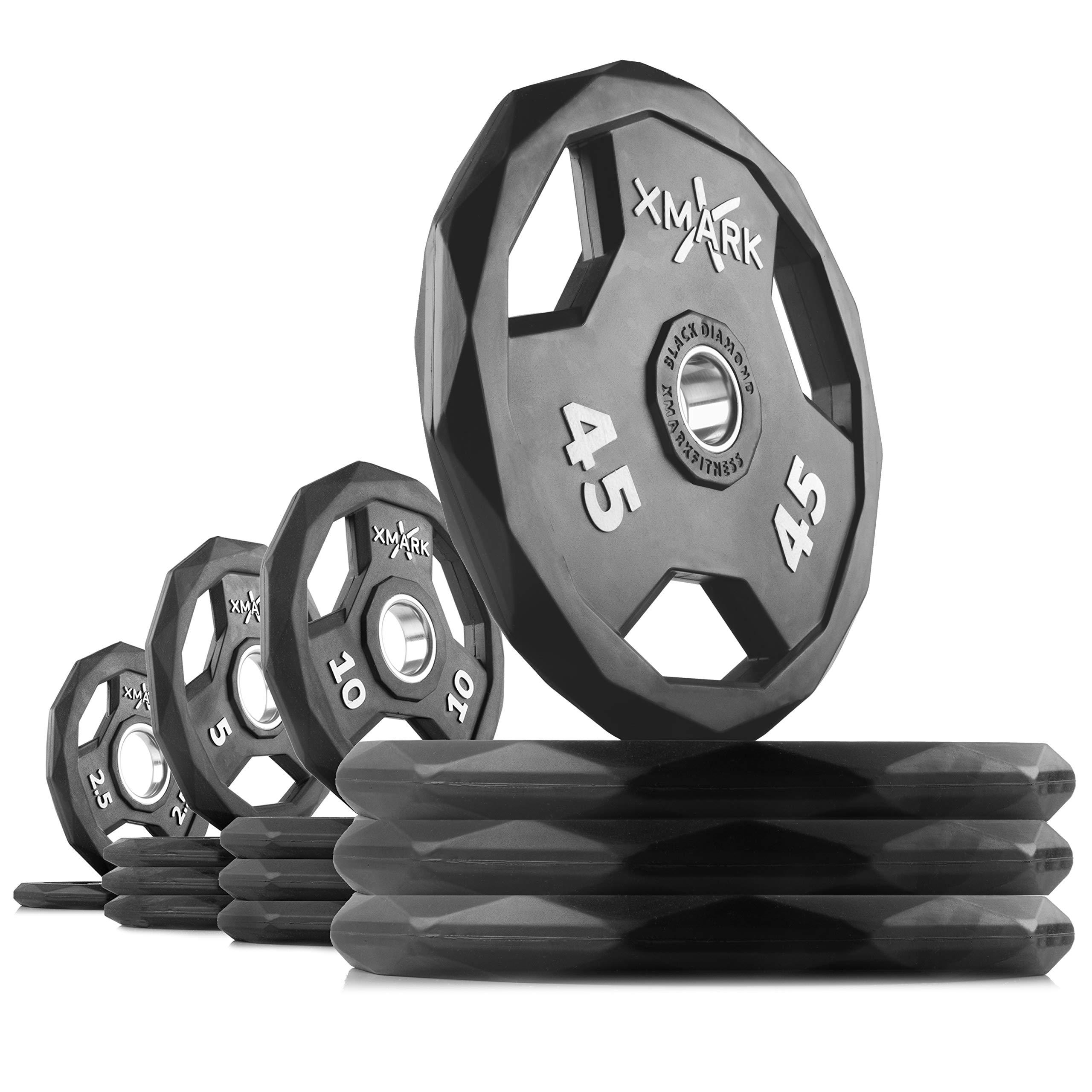 XMark Black Diamond 245 lb Set Olympic Weight Plates, One-Year Warranty, Patented Design