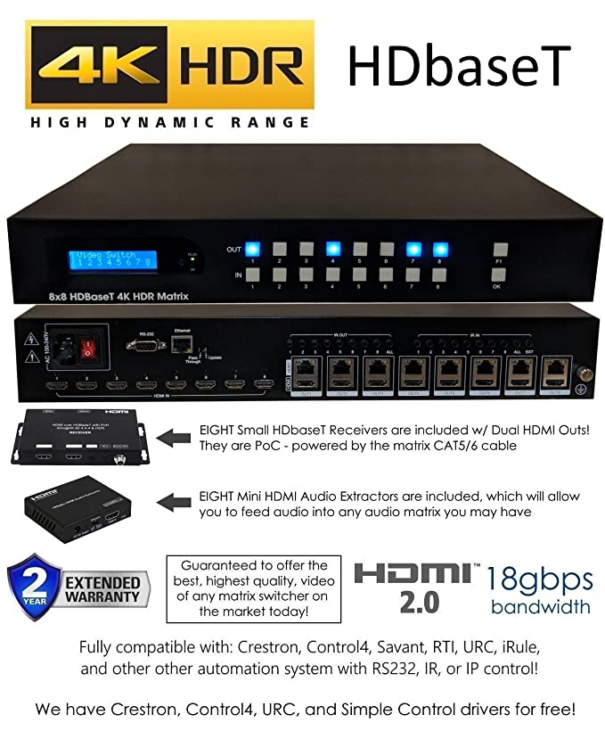 8x16 8x8 HDR 18GBPS HDbaseT 4K Matrix SWITCHER 16x16 with 8 Receivers HDMI  2 0a 2 0 CAT6 CAT5e HDMI HDCP2 2 Routing SPDIF Audio CONTROL4 Savant Home
