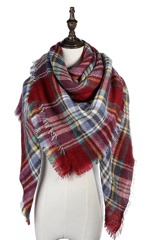 Lamamamas Plaid Blanket Scarf Cozy Tartan Wrap Shawl Scarfs for Women