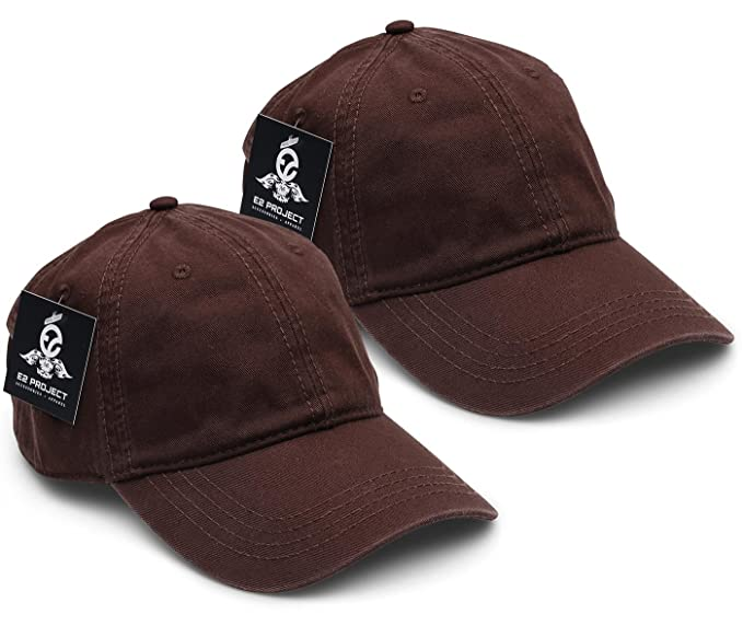 E2 Project 2 Pack Low Crown Unconstructed Basic Washed Twill Baseball Cap  for Men or Women ff0b4e89d67