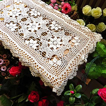 Amazon Ustide Rustic Crochet Table Runner Floral Pattern Table