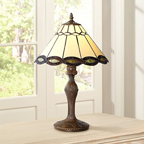 Amora Lighting Tiffany Style Table Lamp Banker Blue Green Pink Iris Flower Butterfly Stained Glass Bedside Nightstand Vintage Antique 16 Tall 6 Wide Handmade Gift AM1115TL06B, Multicolored