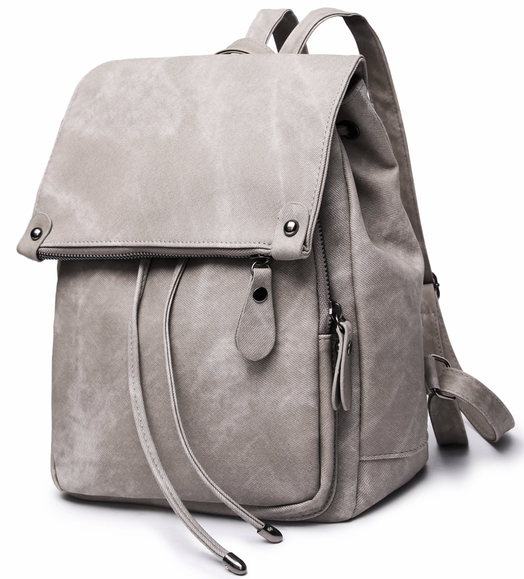Stylish PU Leather Backpack For Women Lightweight Cute Mini Backpack For Women Fashion Design Drawstring School Waterproof Rusksack Grey